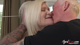 Hardcore sex featuring famous busty british mature and tatooed horny man relating to carry on