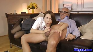 Well turned out schoolgirl bouncing on elderly alms-man s gumshoe with Dominica Phoenix