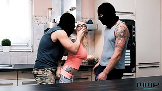 Male burglars both intimidate and excite Mea Melone and Mila Milan