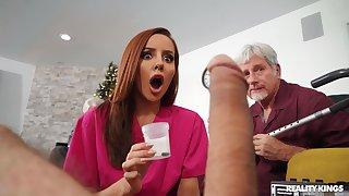 Kinky redhead slut Vanna Bardot gets fucked by two older guys