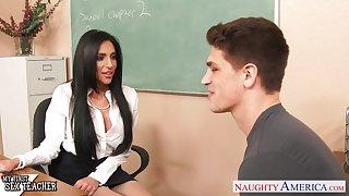 Horny tenebrous MILF tutor Jaclyn Taylor loves giving present deepthroat BJ