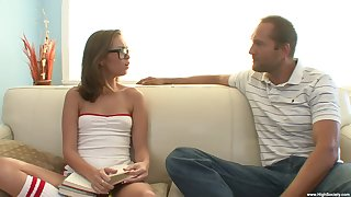 Nerdy arse chick lets stepdaddy fuck her merciless