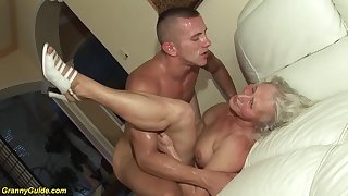 horny 76 years superannuated granny gives a wikd tit be captivated by together with extreme deepthroat be advantageous to her young toyboy