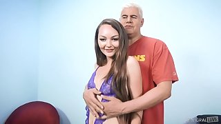 Insatiable girl Sabrina Rey is playing with vibrator while lady's man fucks her pinkish hole
