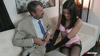 Off colour kept woman Kendra Spade gives a blowjob and gets her muff nailed