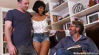 Stepson and stepdad be wild about ebony chick Jenna Foxx and cum on her black confidential