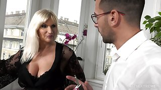 Busty old rich skirt Anna Valentina gets initiate with young gigolo