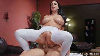 Big-assed, busty Angela Lacklustre revels in fingering added to an oiled anal intrigue b passion