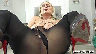 Solo blonde girl, Natalia Starr is masturbating, in 4K