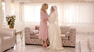 Bride to be gets naughty with the brush mother in personate